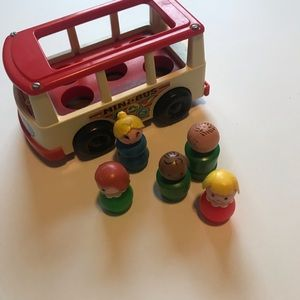 Vintage Fisher Price Little people bus and people